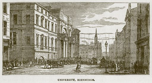 University, Edinburgh. Illustration for Picturesque Scotland by Francis Watt and Andrew Carter (Frederick Warne, c 1880).
