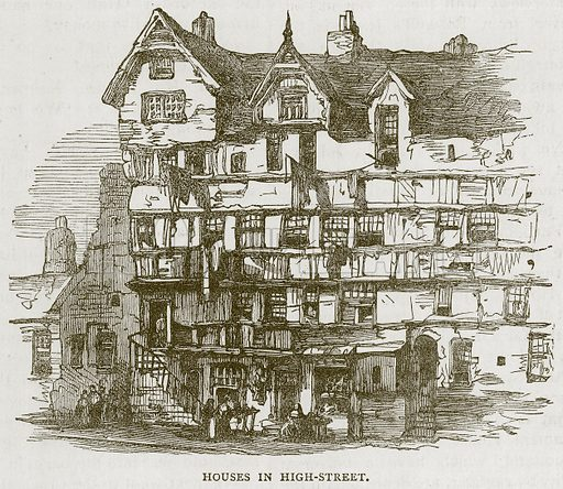 Houses in High-Street. Illustration for Picturesque Scotland by Francis Watt and Andrew Carter (Frederick Warne, c 1880).