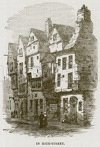 In High-Street. Illustration for Picturesque Scotland by Francis Watt and Andrew Carter (Frederick Warne, c 1880).