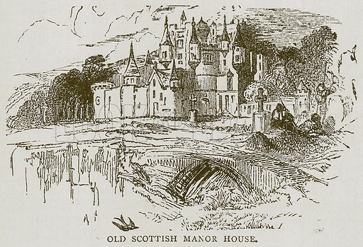 Old Scottish Manor House. Illustration for Picturesque Scotland by Francis Watt and Andrew Carter (Frederick Warne, c 1880).