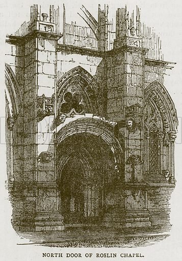 North Door of Roslin Chapel. Illustration for Picturesque Scotland by Francis Watt and Andrew Carter (Frederick Warne, c 1880).