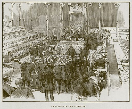 Swearing-in the Commons. Illustration for The Life and Times of The Marquis of Salisbury by S H Jeyes (Virtue, c 1895).
