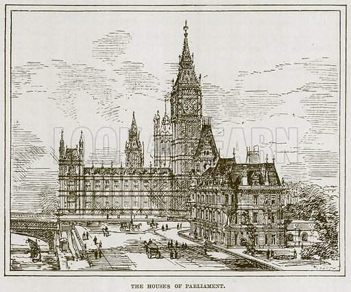 The Houses of Parliament. Illustration for The Life and Times of The Marquis of Salisbury by S H Jeyes (Virtue, c 1895).