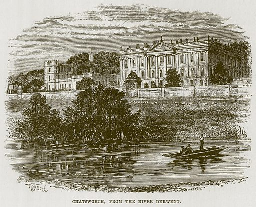 Chatsworth, from the River Derwent. Illustration for The Life and Times of The Marquis of Salisbury by S H Jeyes (Virtue, c 1895).