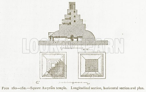 Square Assyrian Temple. Longitudinal Section, Horizontal Section and Plan. Illustration for A History of Art in Chaldaea and Assyria by Georges Perrot and Charles Chipiez (Chapman and Hall, 1884).