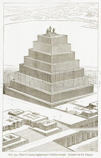 Type of Square, Single-Ramped Chaldaean Temple. Illustration for A History of Art in Chaldaea and Assyria by Georges Perrot and Charles Chipiez (Chapman and Hall, 1884).