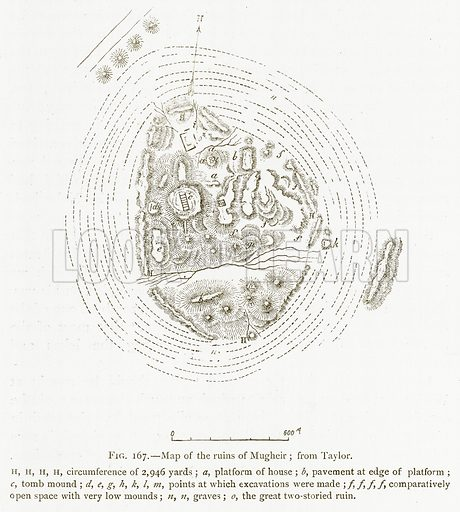 Map of the Ruins of Mugheir; from Taylor. Illustration for A History of Art in Chaldaea and Assyria by Georges Perrot and Charles Chipiez (Chapman and Hall, 1884).