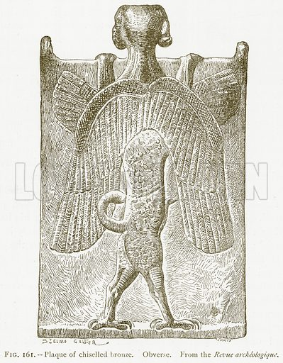 Plaque of Chiselled Bronze. Obverse. Illustration for A History of Art in Chaldaea and Assyria by Georges Perrot and Charles Chipiez (Chapman and Hall, 1884).
