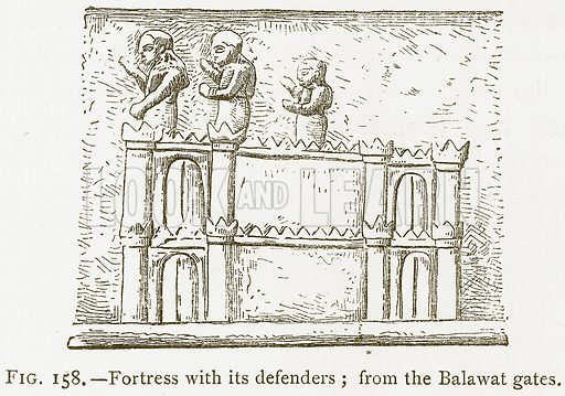 Fortress with its Defenders; from the Balawat Gates. Illustration for A History of Art in Chaldaea and Assyria by Georges Perrot and Charles Chipiez (Chapman and Hall, 1884).