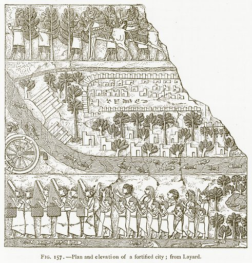 Plan and Elevation of a Fortified City; from Layard. Illustration for A History of Art in Chaldaea and Assyria by Georges Perrot and Charles Chipiez (Chapman and Hall, 1884).