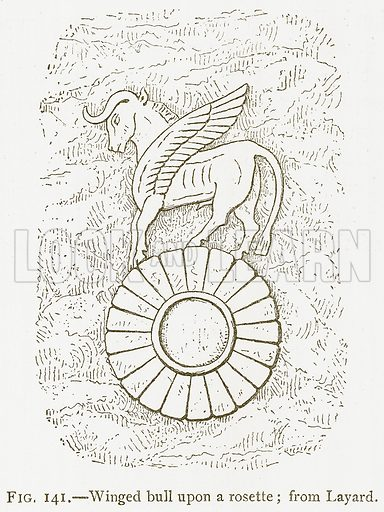 Winged Bull upon a Rosette; from Layard. Illustration for A History of Art in Chaldaea and Assyria by Georges Perrot and Charles Chipiez (Chapman and Hall, 1884).