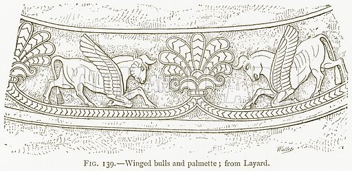 Winged Bulls and Palmette; from Layard. Illustration for A History of Art in Chaldaea and Assyria by Georges Perrot and Charles Chipiez (Chapman and Hall, 1884).