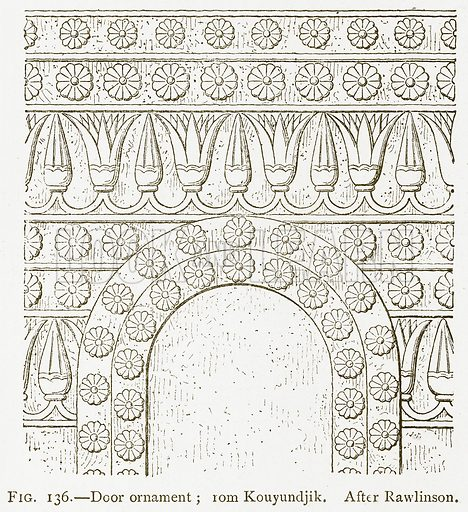 Door Ornament; from Kouyundjik. After Rawlinson. Illustration for A History of Art in Chaldaea and Assyria by Georges Perrot and Charles Chipiez (Chapman and Hall, 1884).