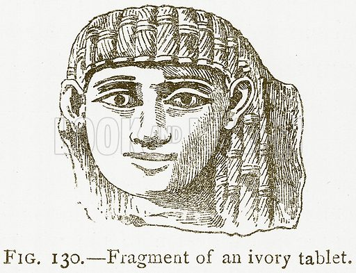 Fragment of an Ivory Tablet. Illustration for A History of Art in Chaldaea and Assyria by Georges Perrot and Charles Chipiez (Chapman and Hall, 1884).