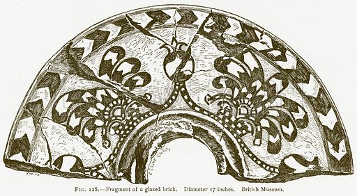 Fragment of a Glazed Brick. Illustration for A History of Art in Chaldaea and Assyria by Georges Perrot and Charles Chipiez (Chapman and Hall, 1884).