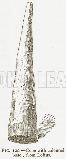 Cone with Coloured Base; from Loftus. Illustration for A History of Art in Chaldaea and Assyria by Georges Perrot and Charles Chipiez (Chapman and Hall, 1884).