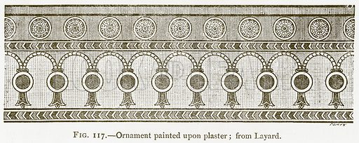 Ornament Painted upon Plaster; from Layard. Illustration for A History of Art in Chaldaea and Assyria by Georges Perrot and Charles Chipiez (Chapman and Hall, 1884).