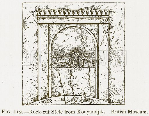 Rock-Cut Stele from Kouyundjik. British Museum. Illustration for A History of Art in Chaldaea and Assyria by Georges Perrot and Charles Chipiez (Chapman and Hall, 1884).