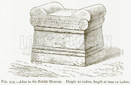 Altar in the British Museum. Illustration for A History of Art in Chaldaea and Assyria by Georges Perrot and Charles Chipiez (Chapman and Hall, 1884).