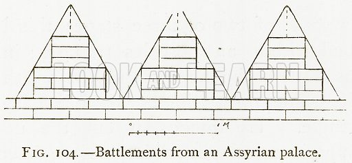 Battlements from an Assyrian Palace. Illustration for A History of Art in Chaldaea and Assyria by Georges Perrot and Charles Chipiez (Chapman and Hall, 1884).