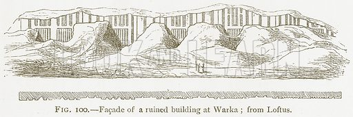Facade of a Ruined Building at Warka; from Loftus. Illustration for A History of Art in Chaldaea and Assyria by Georges Perrot and Charles Chipiez (Chapman and Hall, 1884).