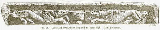 Decorated Lintel, 6 Feet Long and 10 Inches High. British Museum. Illustration for A History of Art in Chaldaea and Assyria by Georges Perrot and Charles Chipiez (Chapman and Hall, 1884).
