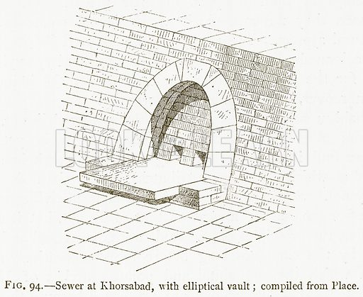 Sewer at Khorsabad, with Elliptical Vault; Compiled from Place. Illustration for A History of Art in Chaldaea and Assyria by Georges Perrot and Charles Chipiez (Chapman and Hall, 1884).