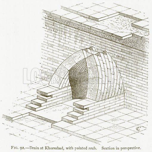 Drain at Khorsabad, with Pointed Arch. Section in Perspective. Illustration for A History of Art in Chaldaea and Assyria by Georges Perrot and Charles Chipiez (Chapman and Hall, 1884).
