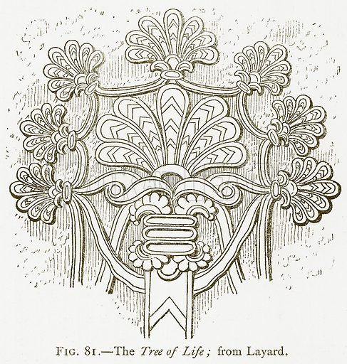 The Tree of Life; from Layard. Illustration for A History of Art in Chaldaea and Assyria by Georges Perrot and Charles Chipiez (Chapman and Hall, 1884).
