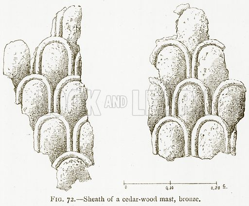 Sheath of a Cedar-Wood Mast, Bronze. Illustration for A History of Art in Chaldaea and Assyria by Georges Perrot and Charles Chipiez (Chapman and Hall, 1884).