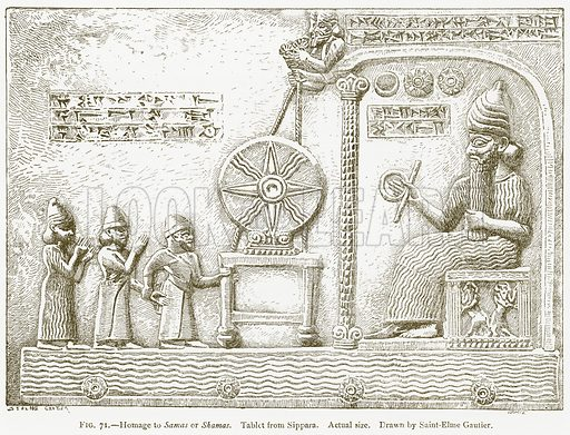 Homage to Samas or Shamas. Tablet from Sippara. Illustration for A History of Art in Chaldaea and Assyria by Georges Perrot and Charles Chipiez (Chapman and Hall, 1884).