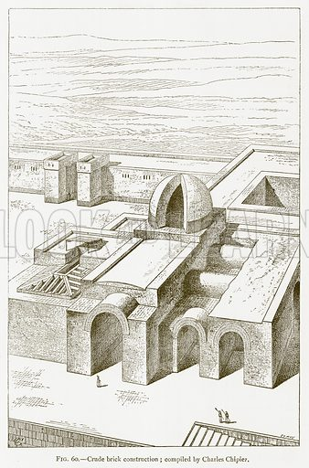 Crude Brick Construction; Compiled by Charles Chipiez. Illustration for A History of Art in Chaldaea and Assyria by Georges Perrot and Charles Chipiez (Chapman and Hall, 1884).