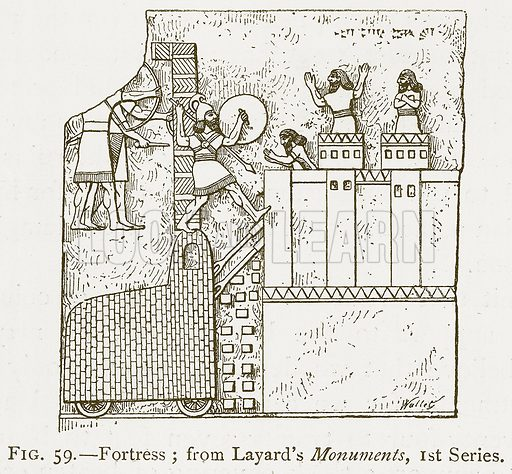 Fortress; from Layard's Monuments, 1st Series. Illustration for A History of Art in Chaldaea and Assyria by Georges Perrot and Charles Chipiez (Chapman and Hall, 1884).