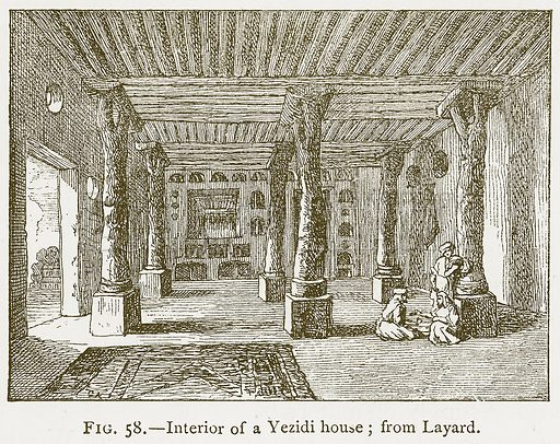 Interior of a Yezidi House; from Layard. Illustration for A History of Art in Chaldaea and Assyria by Georges Perrot and Charles Chipiez (Chapman and Hall, 1884).