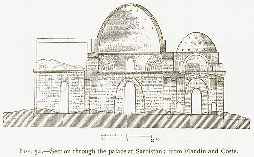 Section through the Palace at Sarbistan; from Flandin and Coste. Illustration for A History of Art in Chaldaea and Assyria by Georges Perrot and Charles Chipiez (Chapman and Hall, 1884).