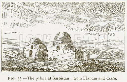 The Palace at Sarbistan; from Flandin and Coste. Illustration for A History of Art in Chaldaea and Assyria by Georges Perrot and Charles Chipiez (Chapman and Hall, 1884).