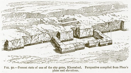 Present State of one of the City Gates, Khorsabad. Perspective Compiled from Place's Plans and Elevations. Illustration for A History of Art in Chaldaea and Assyria by Georges Perrot and Charles Chipiez (Chapman and Hall, 1884).