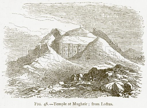 Temple at Mugheir; from Loftus. Illustration for A History of Art in Chaldaea and Assyria by Georges Perrot and Charles Chipiez (Chapman and Hall, 1884).