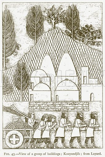 View of a Group of Buildings; Kouyundjik; from Layard. Illustration for A History of Art in Chaldaea and Assyria by Georges Perrot and Charles Chipiez (Chapman and Hall, 1884).