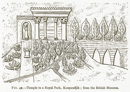 Temple in a Royal Park, Kouyundjik; from the British Museum. Illustration for A History of Art in Chaldaea and Assyria by Georges Perrot and Charles Chipiez (Chapman and Hall, 1884).