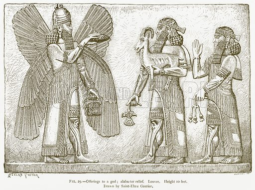 Offerings to a God; Alabaster Relief. Louvre. Illustration for A History of Art in Chaldaea and Assyria by Georges Perrot and Charles Chipiez (Chapman and Hall, 1884).