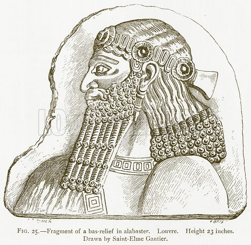 Fragment of a Bas-Relief in Alabaster. Louvre. Illustration for A History of Art in Chaldaea and Assyria by Georges Perrot and Charles Chipiez (Chapman and Hall, 1884).