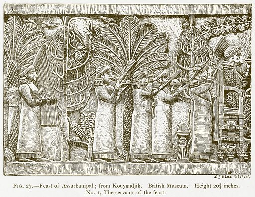 Feast of Assurbanipal; from Kouyundjik. British Museum. Illustration for A History of Art in Chaldaea and Assyria by Georges Perrot and Charles Chipiez (Chapman and Hall, 1884).