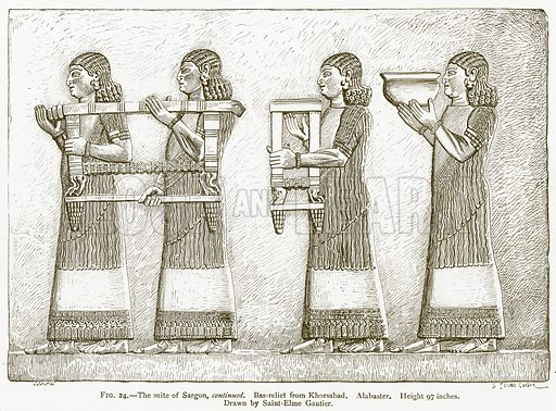 The Suite of Sargon, Continued. Bas-Relief from Khorsabad. Alabaster. Illustration for A History of Art in Chaldaea and Assyria by Georges Perrot and Charles Chipiez (Chapman and Hall, 1884).