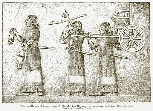 The Suite of Sargon, Continued. Bas-Relief from Khorsabad; in the Louvre. Alabaster. Illustration for A History of Art in Chaldaea and Assyria by Georges Perrot and Charles Chipiez (Chapman and Hall, 1884).