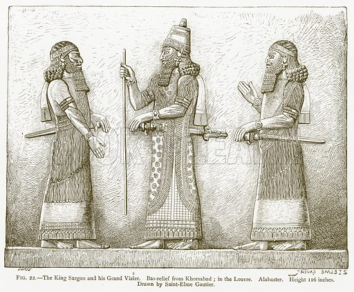 The King Sargon and his Grand Vizier. Bas-Relief from Khorsabad; in the Louvre. Alabaster. Illustration for A History of Art in Chaldaea and Assyria by Georges Perrot and Charles Chipiez (Chapman and Hall, 1884).