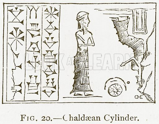 Chaldaean Cylinder. Illustration for A History of Art in Chaldaea and Assyria by Georges Perrot and Charles Chipiez (Chapman and Hall, 1884).