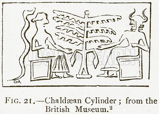 Chaldaean Cylinder; from the British Museum. Illustration for A History of Art in Chaldaea and Assyria by Georges Perrot and Charles Chipiez (Chapman and Hall, 1884).