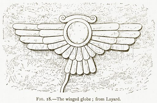 The Winged Globe; from Layard. Illustration for A History of Art in Chaldaea and Assyria by Georges Perrot and Charles Chipiez (Chapman and Hall, 1884).