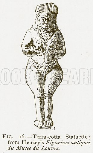 Terra-Cotta Statuette; from Heuzey's Figurines Antiques du Musee du Louvre. Illustration for A History of Art in Chaldaea and Assyria by Georges Perrot and Charles Chipiez (Chapman and Hall, 1884).